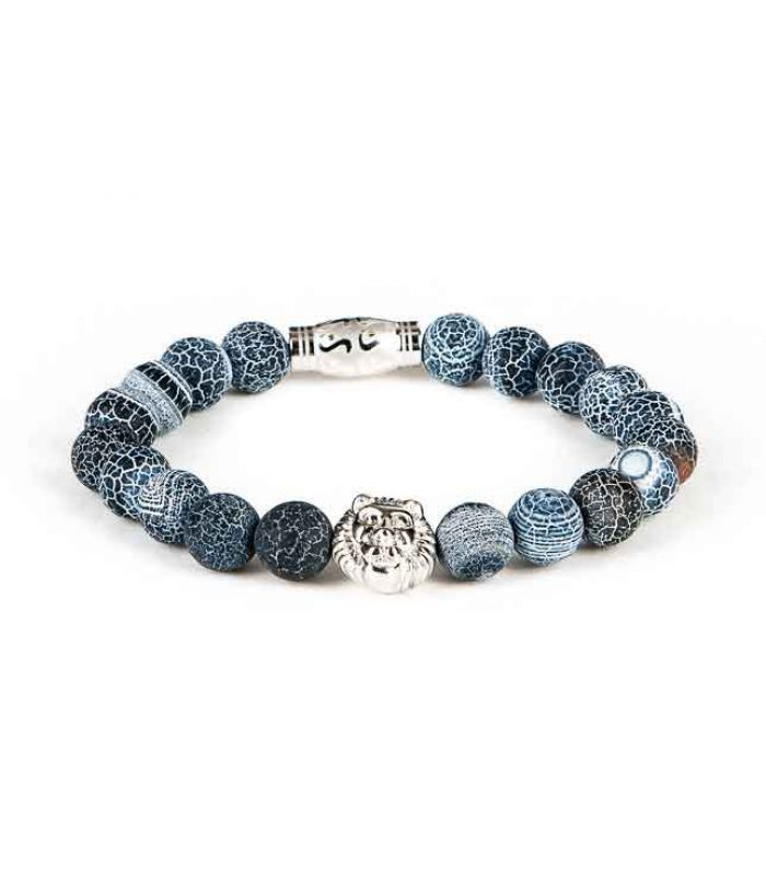 Black and Gold - Heren kralen armband blauw met zilver lion