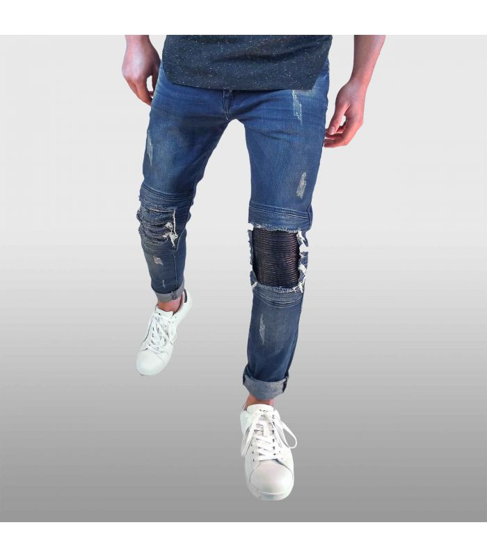 AARHON - Jeans denim ripped met safety patches
