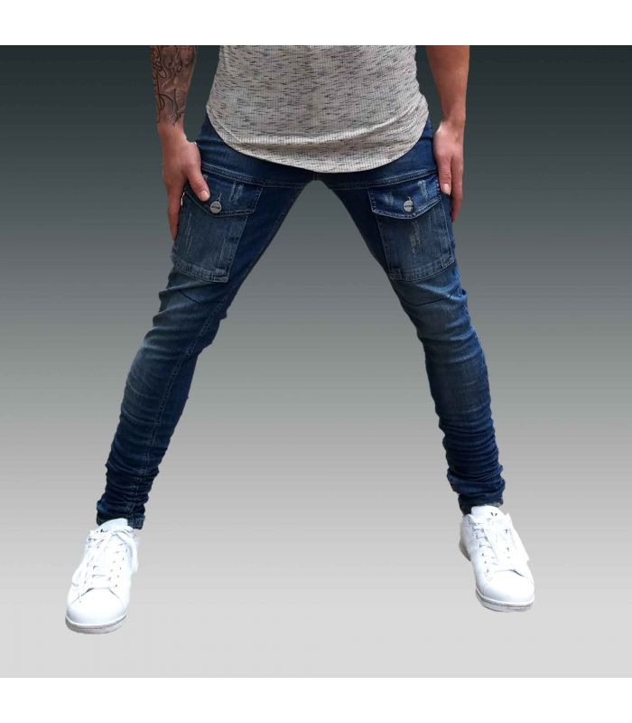 AVIOR - Jeans Montoya skinny blue stone washed with pockets