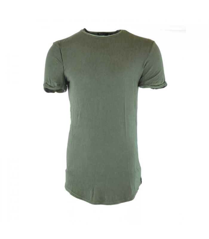 Uniplay - T-shirt afgeronde long fit basic kaki groen