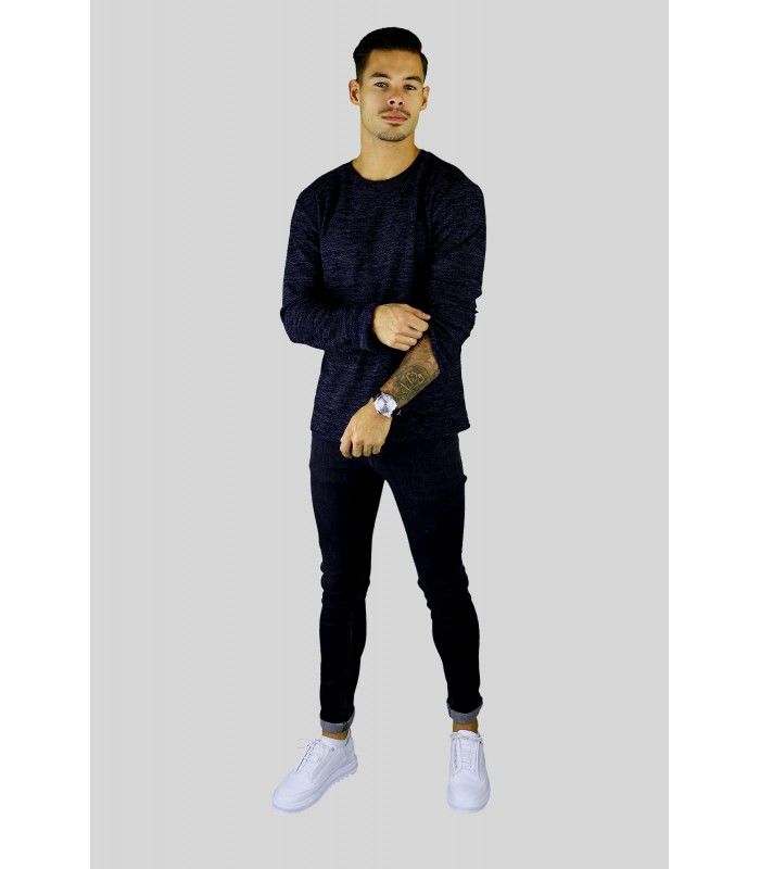 Y TWO Jeans Dunne tricot trui melange donkerblauw