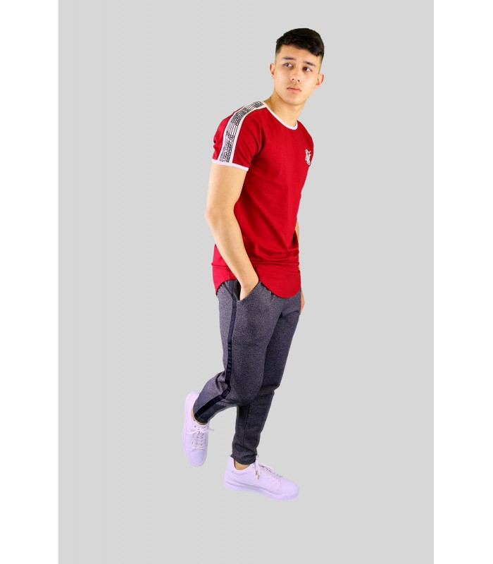 long fit T-shirt rood Taped runner tee