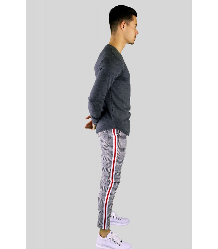 Stretch pantalon ruit met rode zijstreep