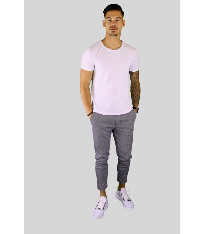 Y TWO Jeans t-shirt raw cotton ronde hals wassing wit