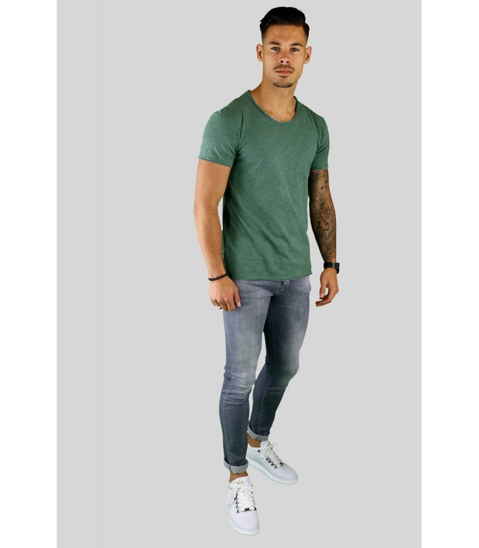 Y TWO Jeans t-shirt raw cotton ronde hals groen wassing