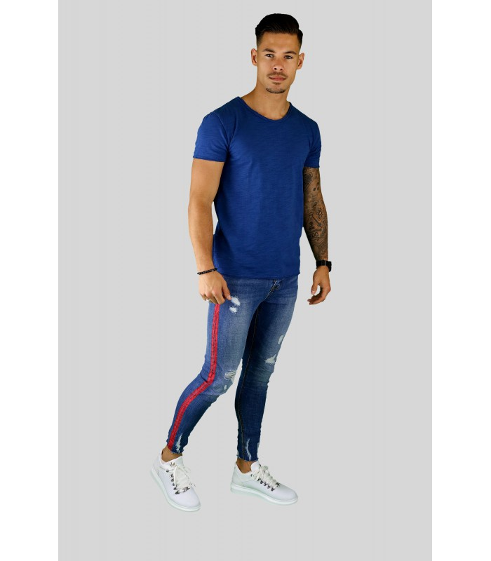 Y TWO Jeans t-shirt raw cotton ronde hals cobalt blauwe wassing