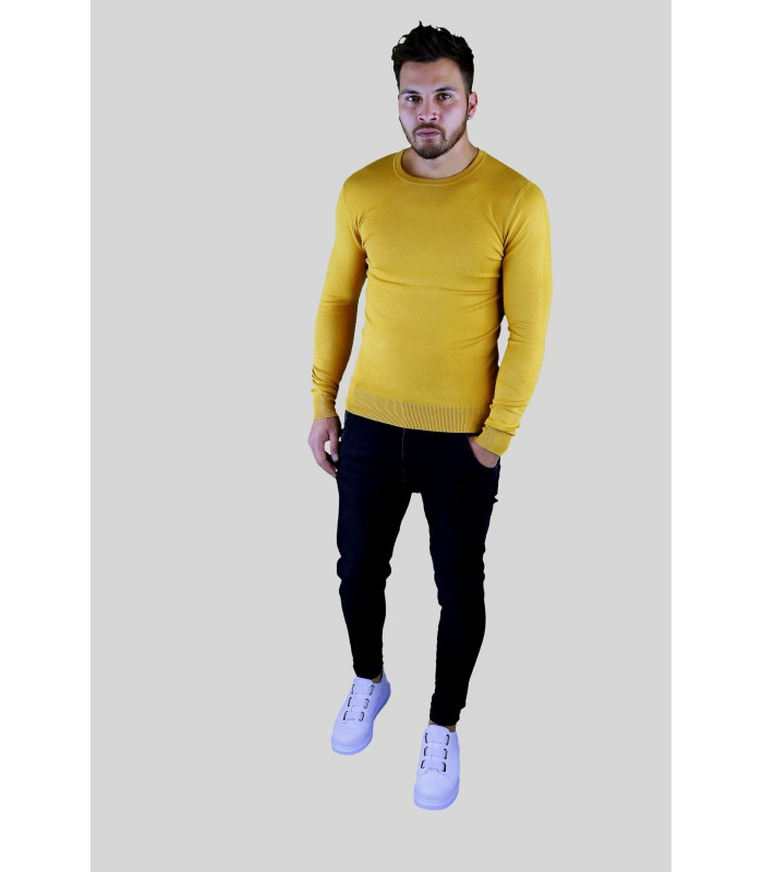 Y TWO Jeans Dunne zachte tricot pullover met ronde hals oker