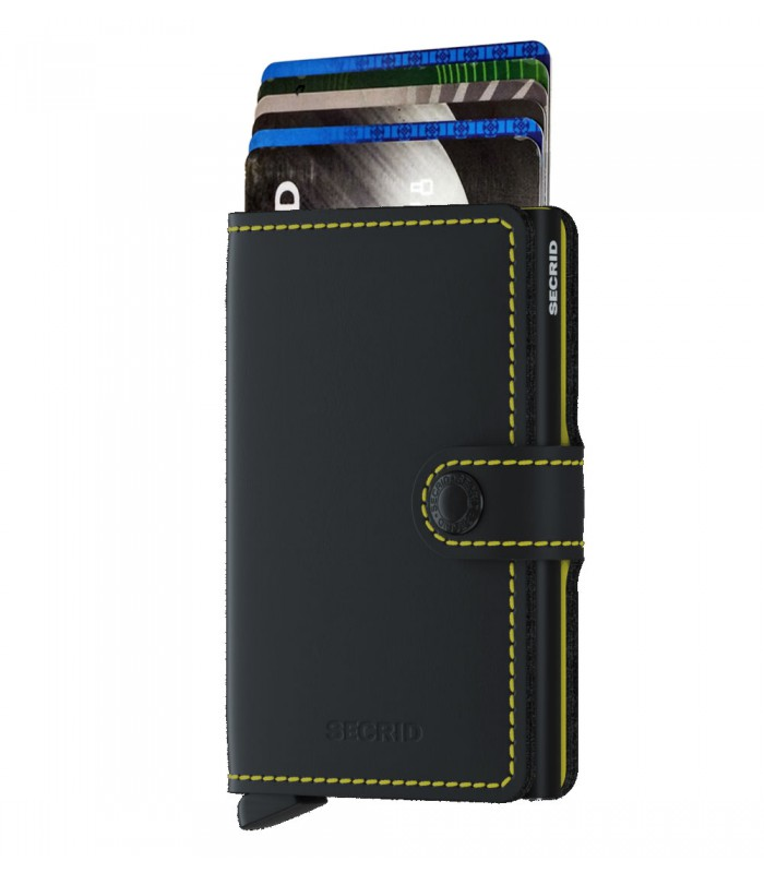 Secrid mini wallet leer mat zwart geel