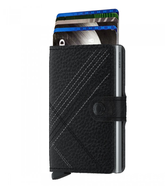 Secrid mini wallet leer stitch linea zwart