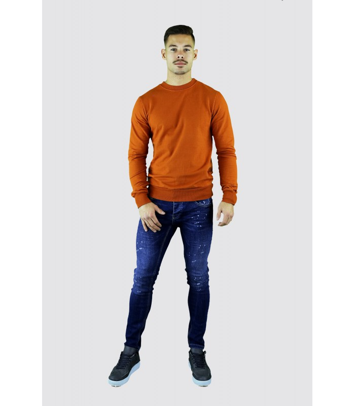 Y TWO Jeans Basic sweater oranje wassing