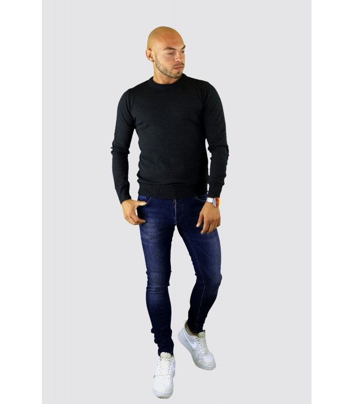AARHON dunne tricot pullover donkergrijs